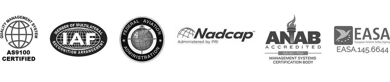 Anmark registrations and accreditations, including Nadcap accredited.